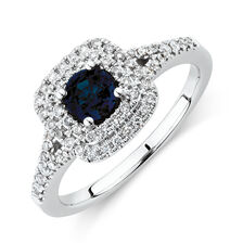 Michael Hill Designer Ring With Sapphire & 1/2 Carat TW Of Diamonds In 10kt White & Rose Gold