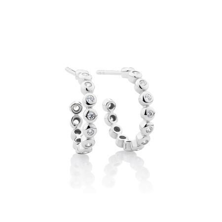 Huggie Earring & Bracelet Set with Cubic Zirconia in Sterling Silver