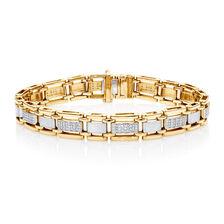Men's Bracelet with 1/2 Carat TW of Diamonds in 10kt Yellow Gold