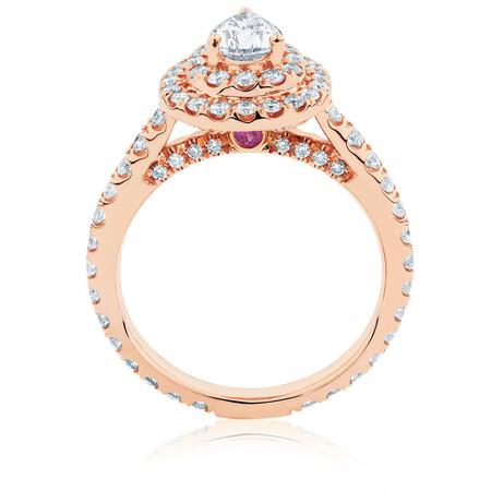 Sir Michael Hill Designer GrandArpeggio Engagement Ring with 1 1/5 Carat TW of Diamonds in 14kt Rose Gold