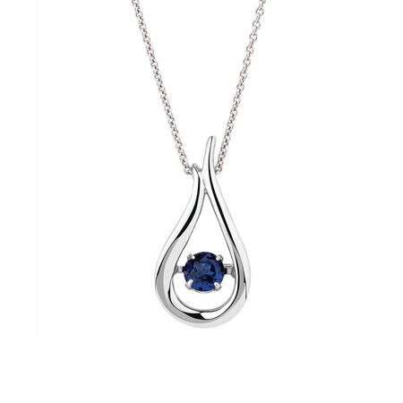 Online Exclusive - Everlight Pendant with Created Blue Sapphire in Sterling Silver