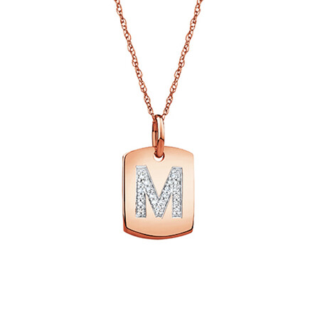 """M"" Initial Rectangular Pendant With Diamonds In 10ct Rose Gold"