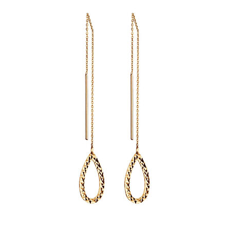 Geometric Teardrop Earrings in 10kt Yellow Gold