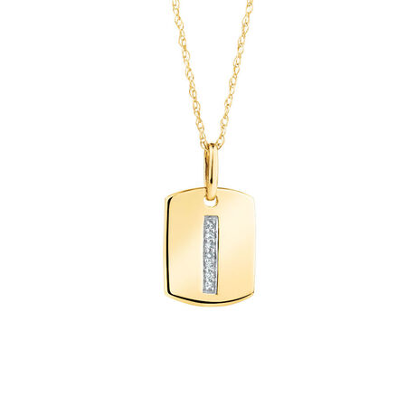 "I"" Initial Rectangular Pendant With Diamonds In 10kt Yellow Gold"