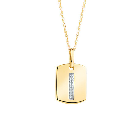 """I"""" Initial Rectangular Pendant With Diamonds In 10kt Yellow Gold"""