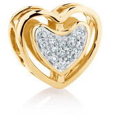 Diamond Set 10kt Yellow Gold Double Heart Charm