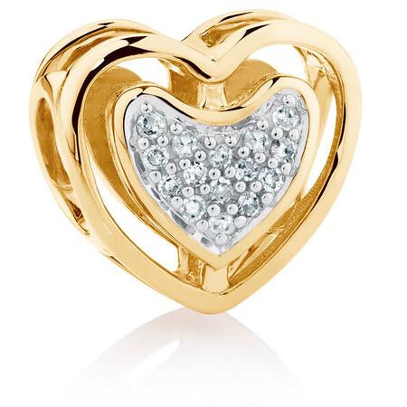 Diamond Set 10kt Yellow Gold Double Heart Charm