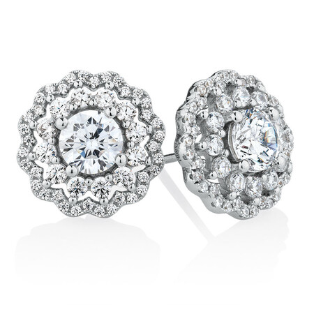 Stud Earrings with Luxe Cubic Zirconia in Sterling Silver