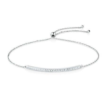 Adjustable Bar Bracelet in 10kt White Gold