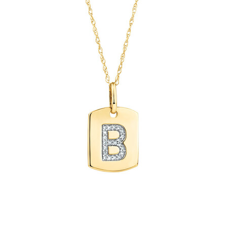 "B"" Initial Rectangular Pendant With Diamonds In 10kt Yellow Gold"