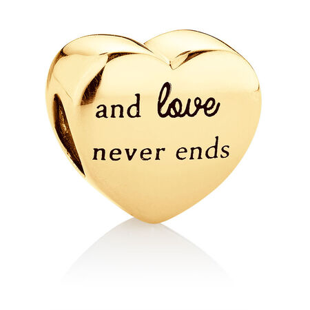 Family Heart Charm in 10kt Yellow Gold