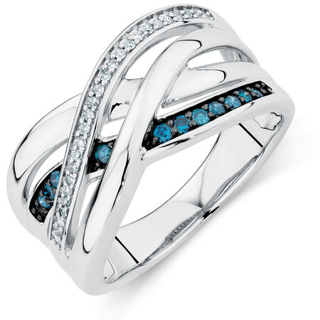 City Lights Ring with 1/5 Carat TW of White &  Enhanced Blue Diamonds in Sterling Silver