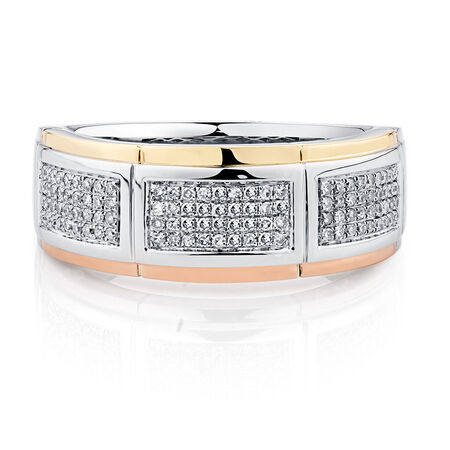Men's Ring with 1/3 Carat TW of Diamonds in 10kt Yellow, White & Rose Gold