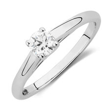 Ideal Cut Solitaire Engagement Ring with a 1/3 Carat Diamond in 14kt White Gold & Platinum