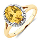 Ring with Created Yellow Sapphire & Diamonds in 10kt Yellow Gold