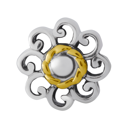 Sterling Silver & 10kt Yellow Gold Flower Charm