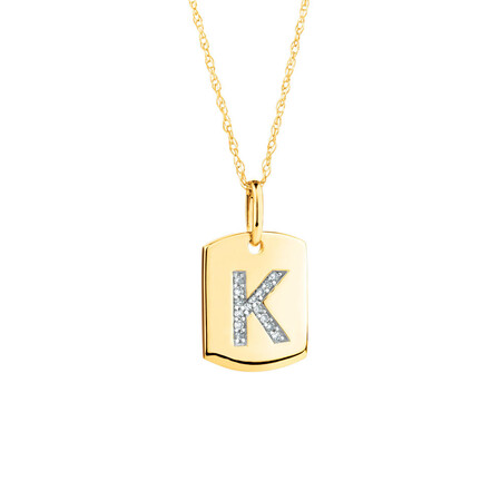 """K"" Initial Rectangular Pendant With Diamonds In 10ct Yellow Gold"