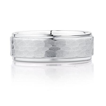 8mm Men's Ring in White Tungsten