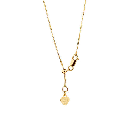 "50cm (20"") Adjustable Box Chain in 10kt Yellow Gold"