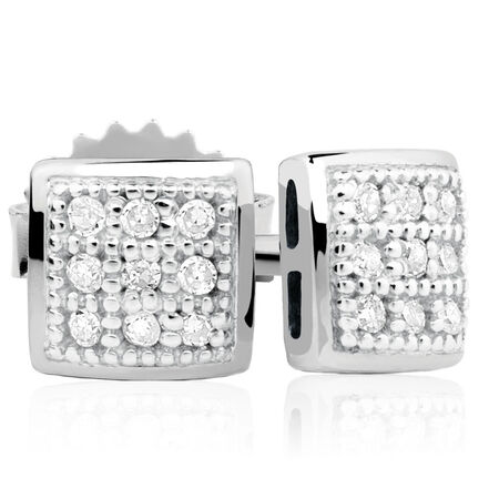 Stud Earrings with 1/20 Carat TW of Diamonds in Sterling Silver
