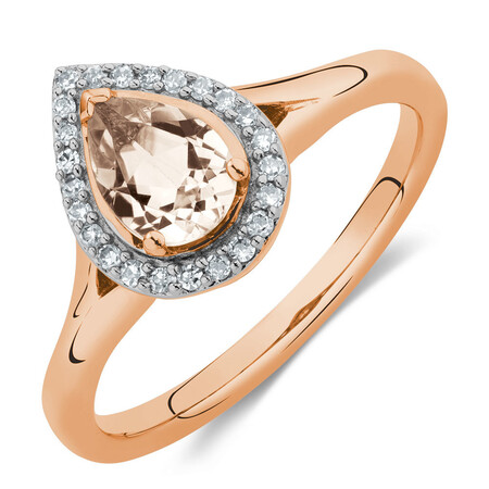 Ring with Morganite & 1/10 Carat TW of Diamonds in 10kt Rose Gold