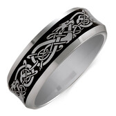 Men's Celtic Ring in Gray Tungsten