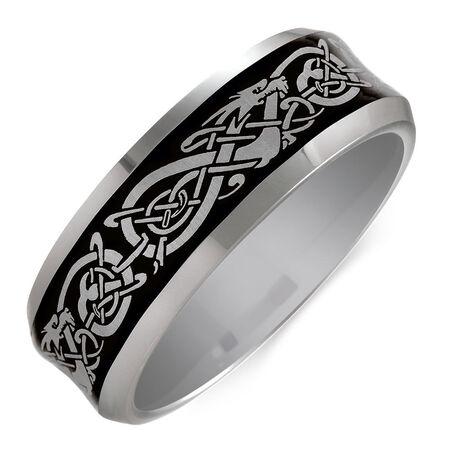 Men's Celtic Ring in Gray Tungsten