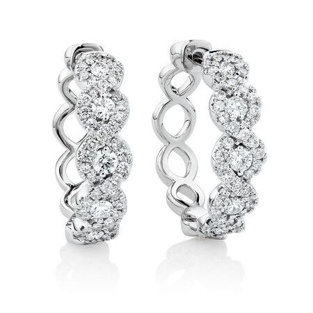 Huggie Earrings with 1 Carat TW of Diamonds in 14kt White Gold