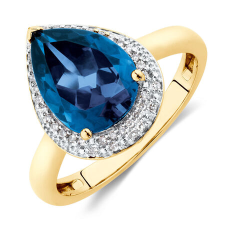 Ring with Created Sapphire & Diamonds in 10kt Yellow Gold