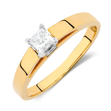 Solitaire Engagement Ring with a 1/4 Carat Diamond in 14kt Yellow & White Gold