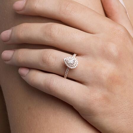 Sir Michael Hill Designer GrandArpeggio Engagement Ring with 7/8 Carat TW of Diamonds in 14kt Rose Gold