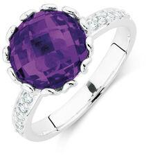 Purple & White Cubic Zirconia Stack Ring