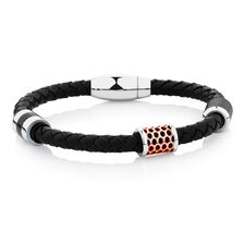 Men's Bracelet in Black Leather & Black PVD & Rose Plated Stainless Steel