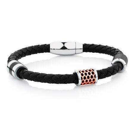 Men's Bracelet in Black Leather & Black PVD & Rose Plated Stainless Steel