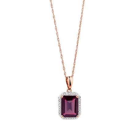 Pendant with Rhodolite Garnet & Diamonds in 10kt Rose Gold