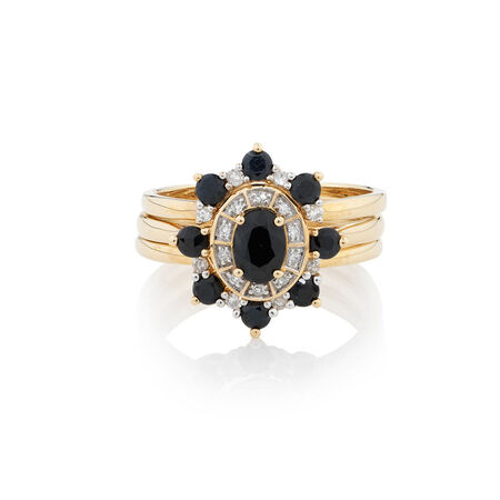 Online Exclusive - Ring with 0.26 Carat TW of Diamonds & Sapphire in 10kt Yellow Gold