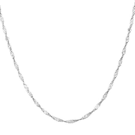 "50cm (20"") Singapore Chain in 10kt White Gold"