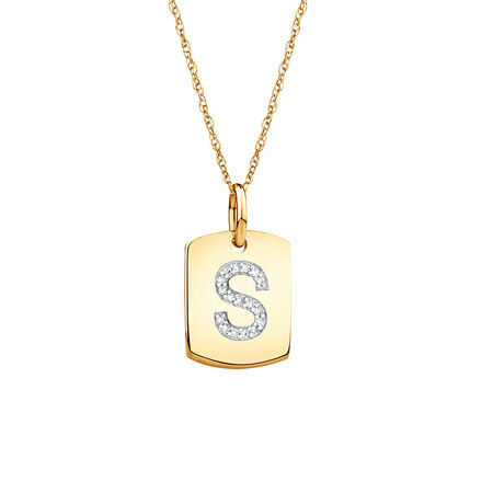 "S"" Initial Rectangular Pendant With Diamonds In 10kt Yellow Gold"