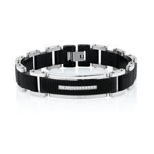 Men S Bracelet With Cubic Zirconia In Black Pvd Plated Stainless Steel