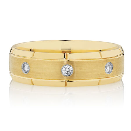 Men's Diamond Set Ring in 10kt Yellow Gold
