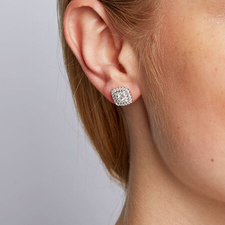 Michael Hill Designer Arpeggio Stud Earrings with 1 Carat TW of Diamonds in 14kt White & Rose Gold