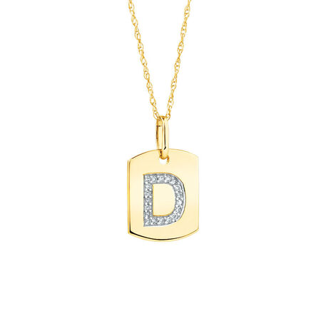 "D"" Initial Rectangular Pendant With Diamonds In 10kt Yellow Gold"