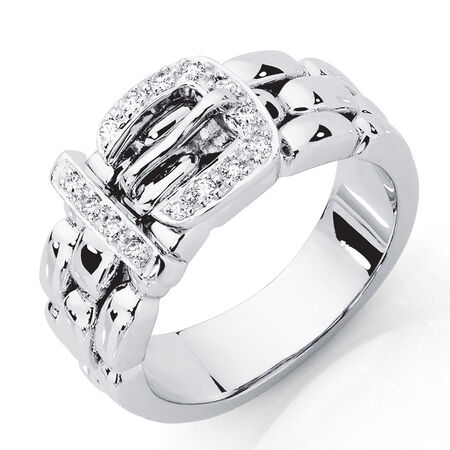 Belt Ring with 1/8 Carat TW of Diamonds in 10kt White Gold