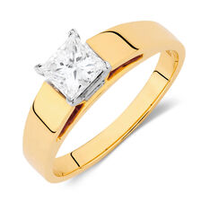 Solitaire Engagement Ring with a 3/4 Carat Diamond in 14kt Yellow & White Gold