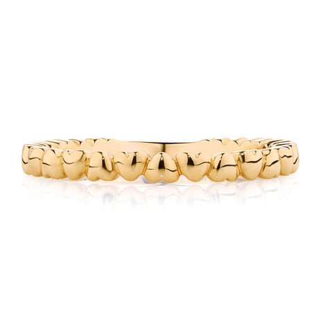 Running Hearts Stacker Ring in 10kt Yellow Gold
