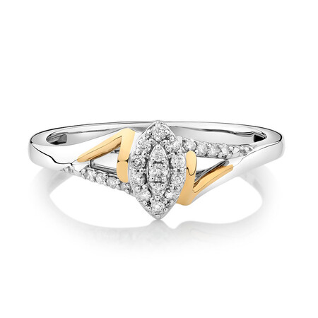 Promise Ring with 1/8 Carat TW of Diamonds in Sterling Silver & 10kt Rose Gold