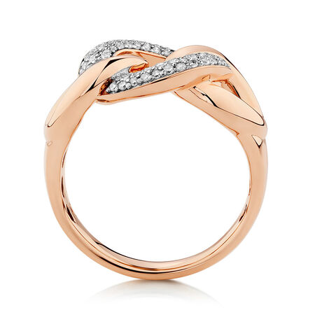 Link Ring with 1/3 Carat TW of Diamonds in 10kt Rose Gold