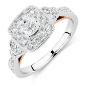 Sir Michael Hill Designer GrandAmoroso Engagement Ring with 0.98 Carat TW of Diamonds in 14kt White & Rose Gold