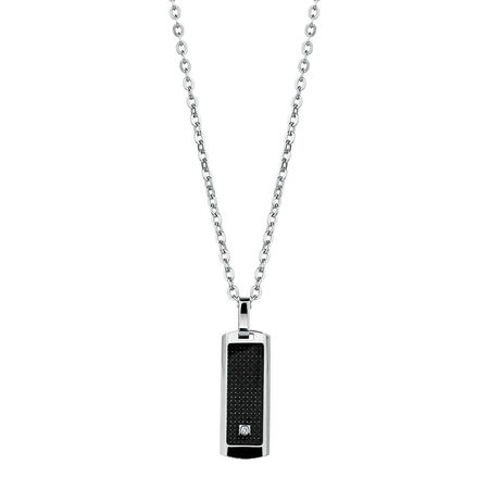 Men's Diamond Set Pendant in Black Carbon Fibre & Stainless Steel