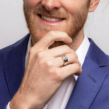 Men's Ring with 1/3 Carat TW of Diamonds & Sapphire in 10kt White Gold